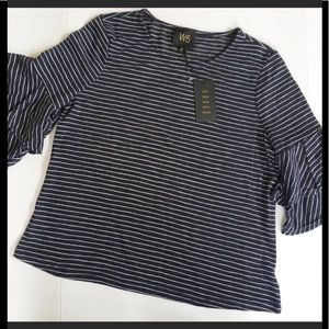 NWT Anthropologie Knit Striped Ruffle-sleeve Top😍